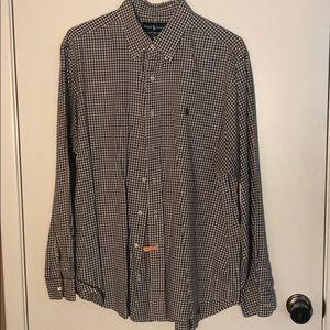 Ralph Lauren Brown & White Checkered Long-sleeve